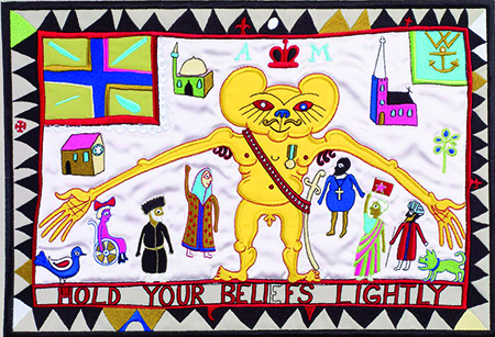 Grayson Perry tapestry - Hold your Beliefs Lightly