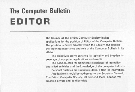 BCS editor job ad (1970s)