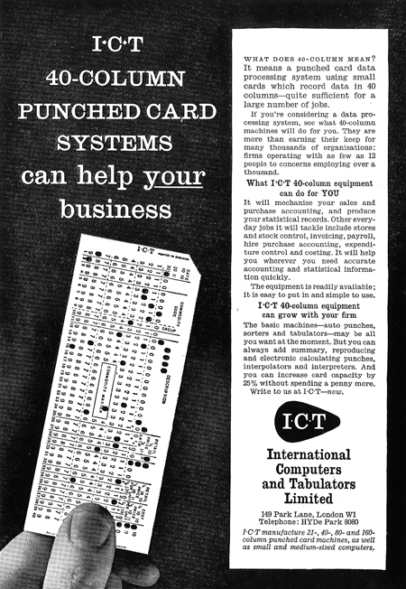 I.C.T punched card system ad (1960s)