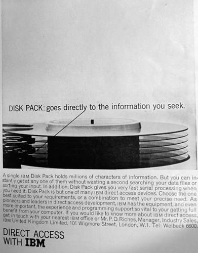 IBM disk pack ad (1960s)