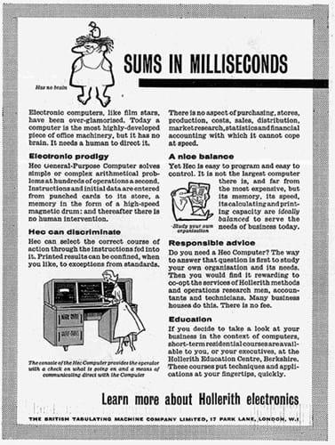 British Tabular Machine Company Limited ad (1950s)