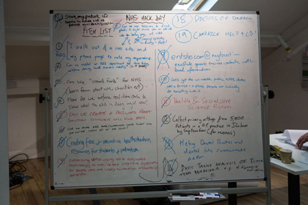 Ideas board at the NHS Hackday