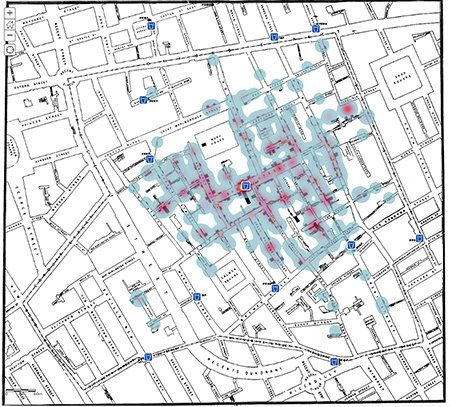 Dr Jon Snow's original map with heat map analysis showing the outbreak of cholera against the location of the water pumps