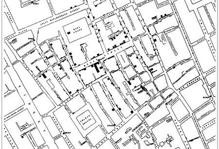 Dr Jon Snow's original map showing the outbreak of cholera against the location of the water pumps