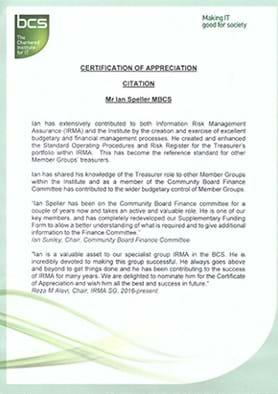 Ian Speller receives certificate of appreciation