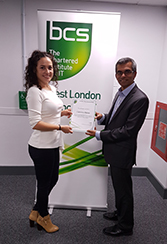Mr Altaf Mohamed Chair Of The Branch Presenting The Student Prize To Carmina Matias