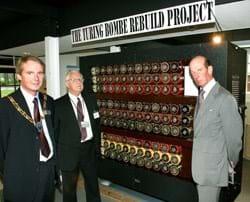 Nigel Shadbolt, John Harper - director  of the Bombe rebuild and  HRH Duke of Kent at the Bombe