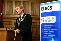 BCS president Nigel Shadbolt  addressing the assembled audience