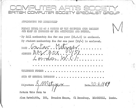 Gustav Metzger's membership form for the CAS, 1969
