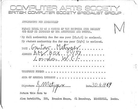 Gustav Metzger's membership form for the CAS, 1969