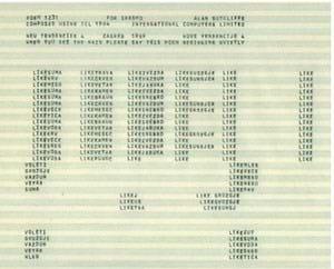 Alan Sutcliffe, an example poem for SPASMO, the original English version, 1969